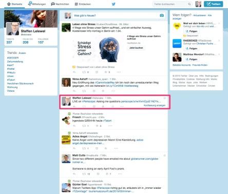 Twitter-Post von Periscope in der Timeline mit dem Link zur Periscope-Homepage